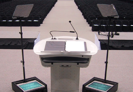 Presidential Telprompter set up at white podium TeleprompterRental.com