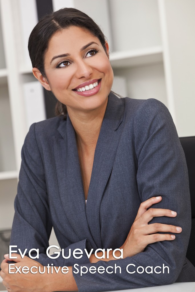 Teleprompter Rental.com Beautiful Eva Guevara teleprompter Operator in gray business suit