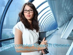 Teleprompter Operator NYC Confident young businesswoman in futuristic interior. at TeleprompterREntal.com offices
