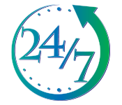 Clock graphic logo - 24/7, green arrow