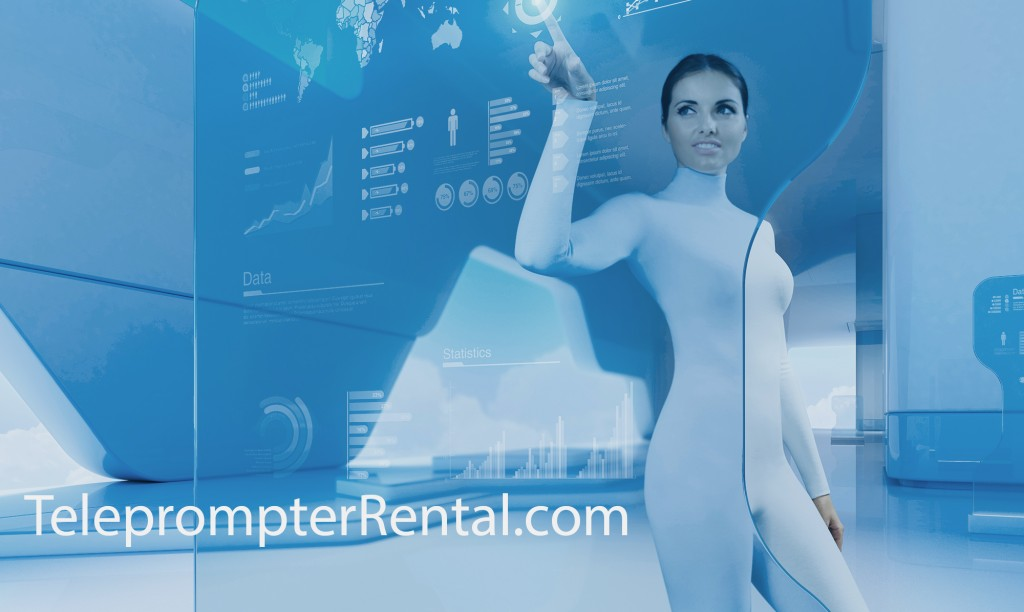 Brunette in white jump suite in scifi setting pushes button