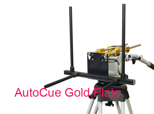 AutoCue Gold Plate setup on black stand