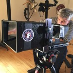 Arie Ohayon behind the new Interrotron Mark II Eye Direct in operation with Arie Ohayon, DP in American Movie Company NY studio
