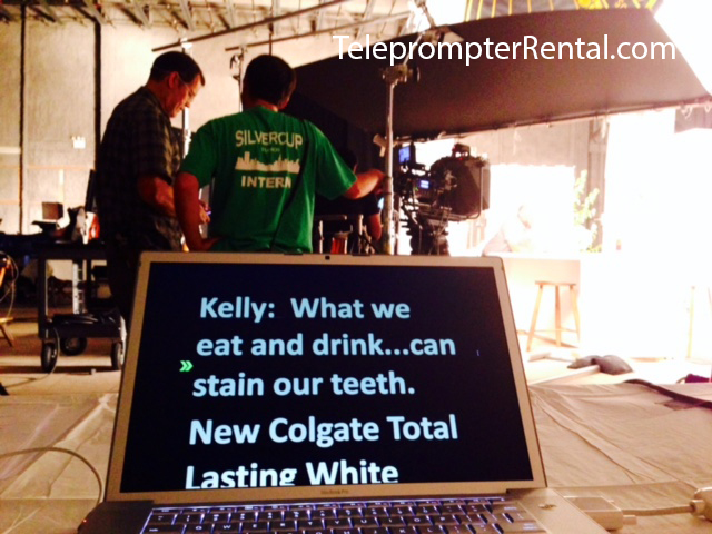 Kelly Ripa Colgate Commercial shot of prompter screen