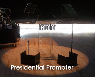 Shot of presidential teleprompter at Conde Nast Traveler show
