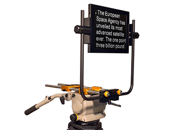Teleprompter set up on stand - text on screen