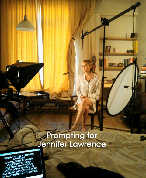 Teleprompting for Jennifer Lawrence at beautiful set