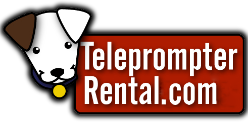 TeleprompterRental.com Logo small dogs head with red background