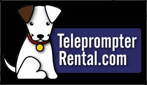 Teleprompter Rental.com logo with full blue dog