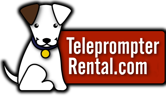 TeleprompterRental.Com logo with picture of Red Dog