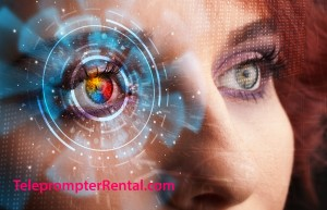 TeleprompterREntal.combeautiful redhead's eye with cyber imagery superimposed.