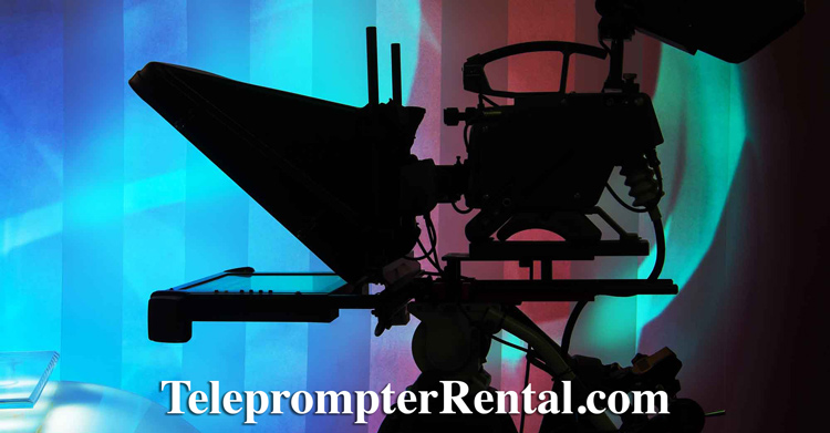 Teleprompter set up - beautiful acqua background