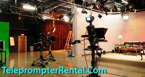 TeleprompterRental.com Image of TV studio with teleprompter on the left on pedistal camera