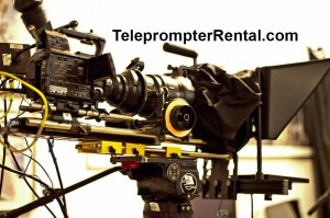 TeleprompterRental.com pictures of a teeprompter with a lareg camera