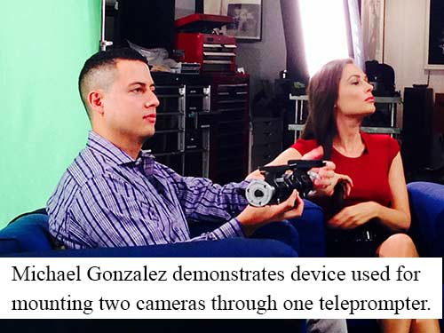 Michael and Laura show how to mount two cameras through one teleprompter.
