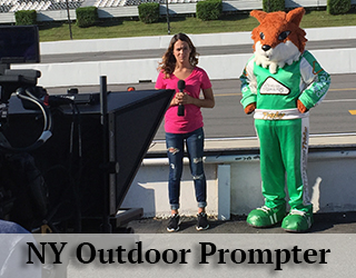 NY Outdoor Prompter - Green mascot and woman in background.