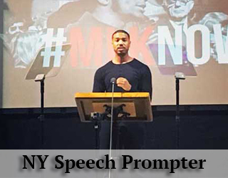 NY Speech Prompter aka Presidential Teleprompter - man behind podium