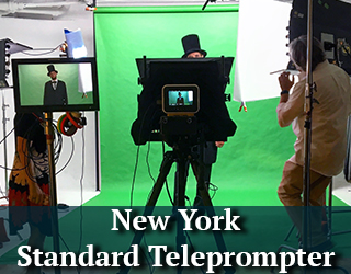 New York Standard Teleprompter set against green screen. Two men on set.