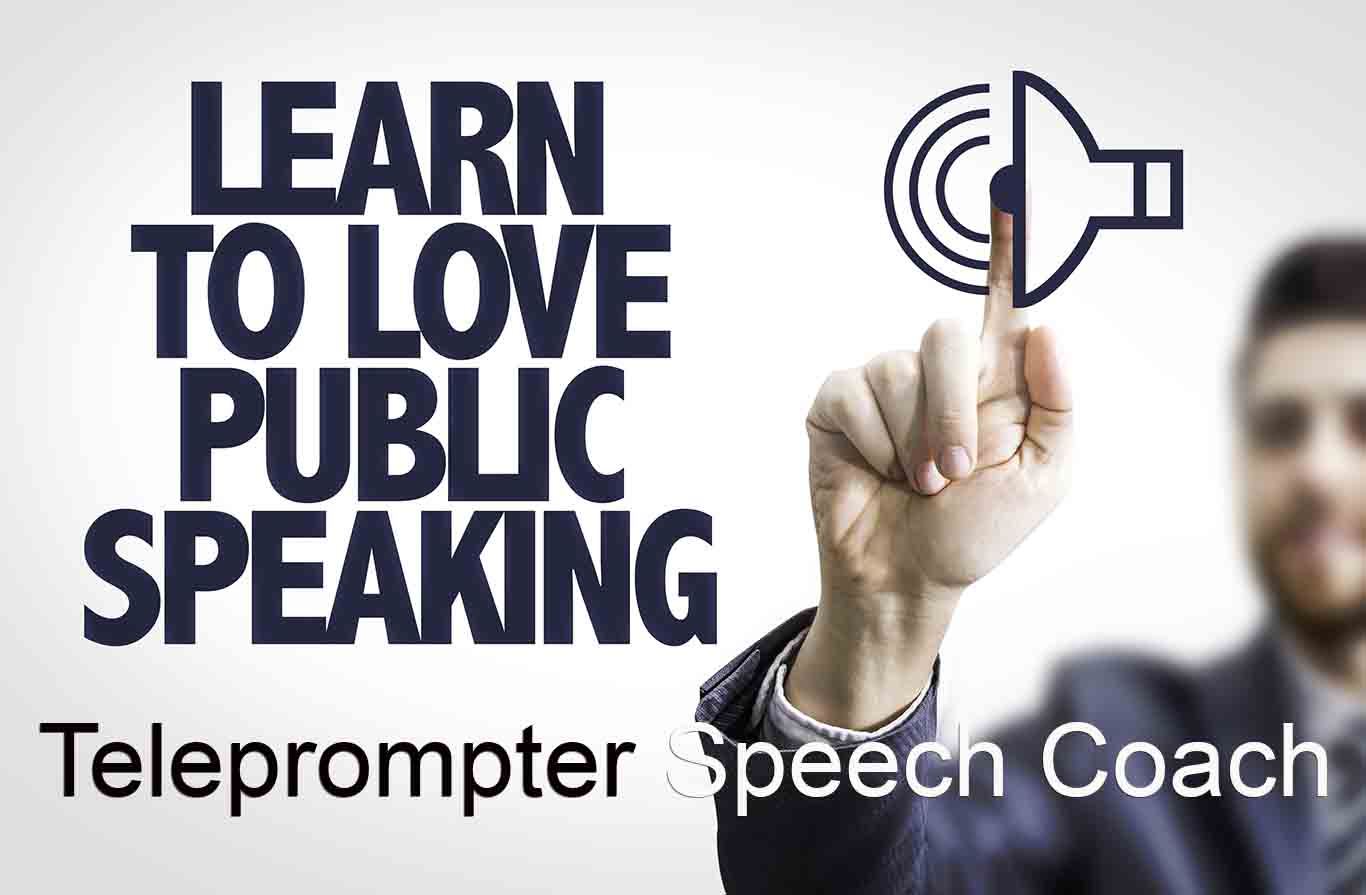 Hazy man on the right - logo - Learn to Love Public Speaking... Teleprompter Coach