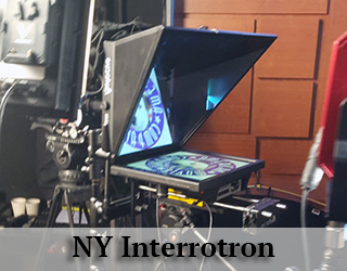 NY Interrotron - AMC logo reflected on screen