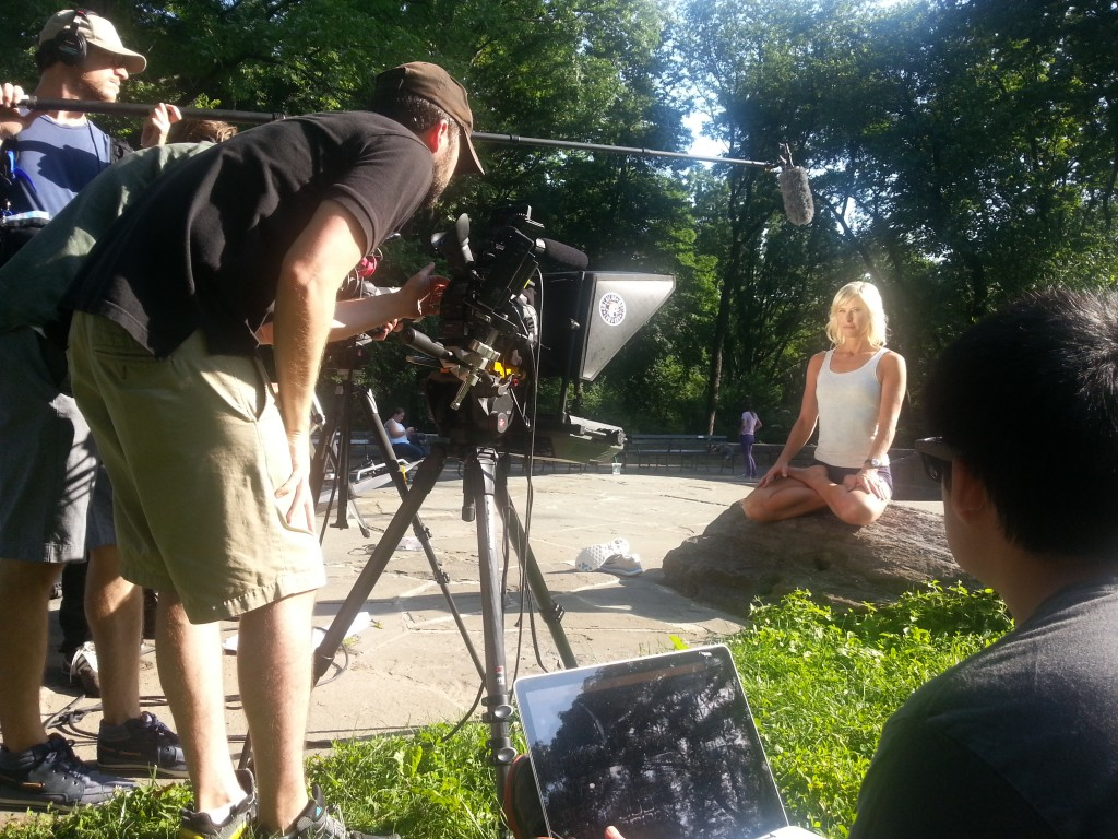 Location shoot with our daylight, battery powered prompter in Central Park TeleprompterRental.com