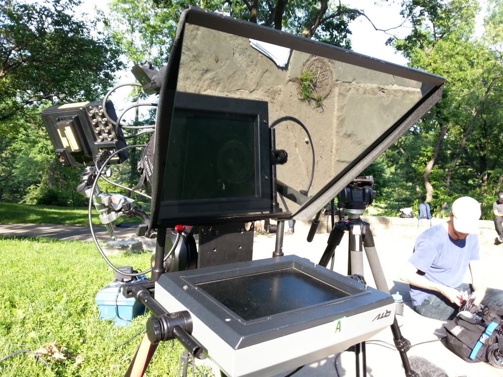 Daylight, battery powered Teleprompter set up - Central Park - Sonima promo.