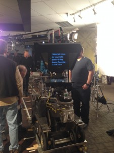 "Teleprompter at ""La-Z-Boy"" shoot with Brooke Shields"
