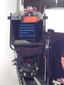 Teleprompter on Set- Nasacort Commercial.