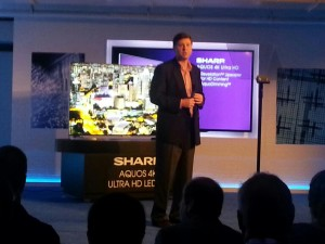 Mark Vilken, VP of Brand Marketing at Sharp TV - introducing the latest Sharp Aqu