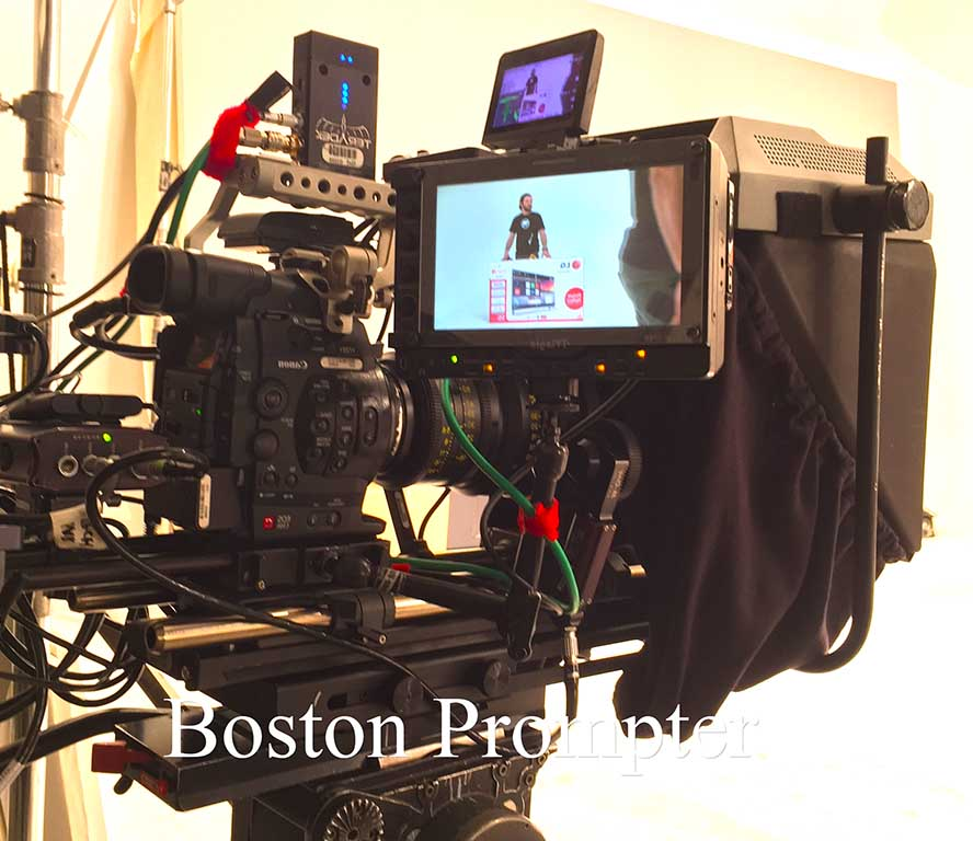 Intricate setup of Boston Prompter