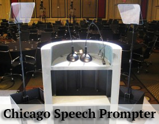 Presidential Teleprompter and Podium facing audience - Chicago