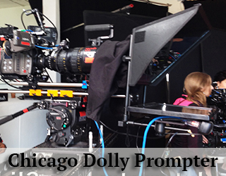 Dolly Prompter unit setup on set - woman in background - Chicago