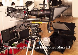 TeleprompterRental.com Image of camera and tripod with the talent unit of the Interrotron mark III HD