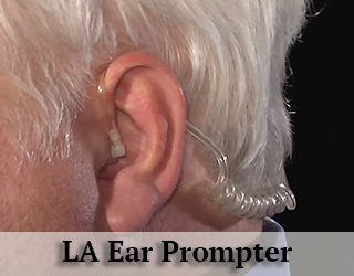 Ear Prompter - closeup of man's ear - LA