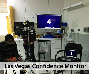 Las Vegas Confidence Monitor on kitchen set with two crew members