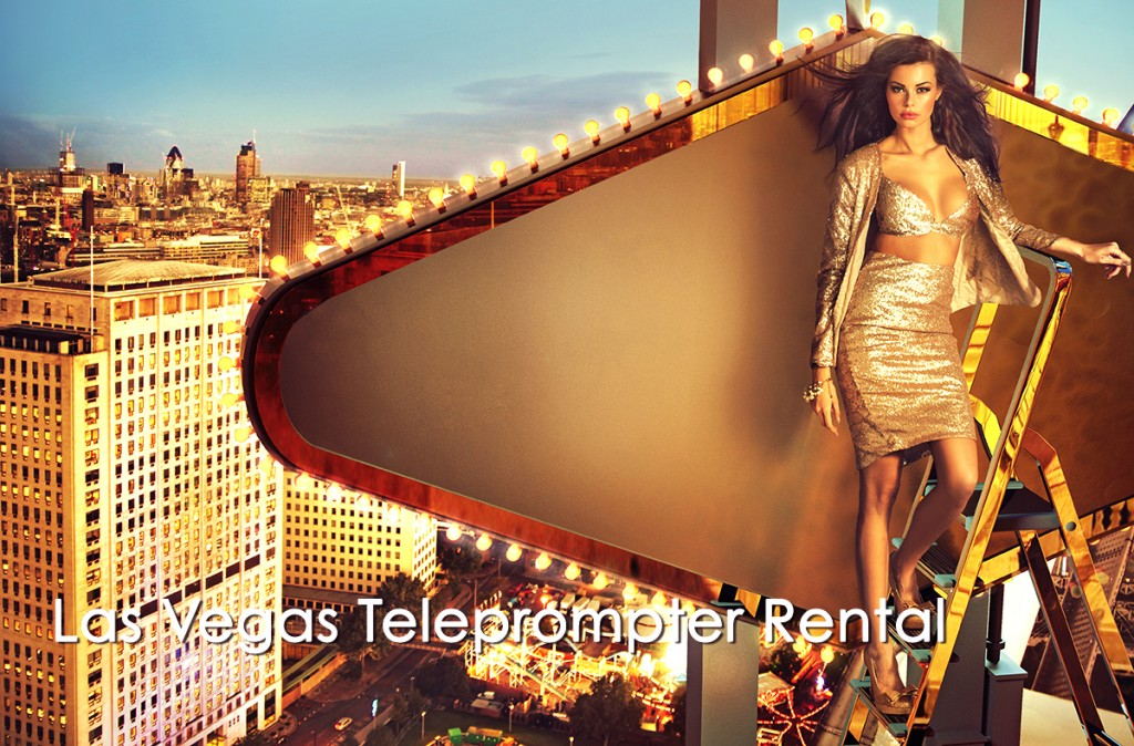 Golden woman atop sign on building - Las Vegas Teleprompter Rental