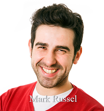 Mark Russel - young smiling young man with red shirt.