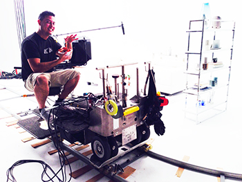 Michael Gonzalez and equipment on set
