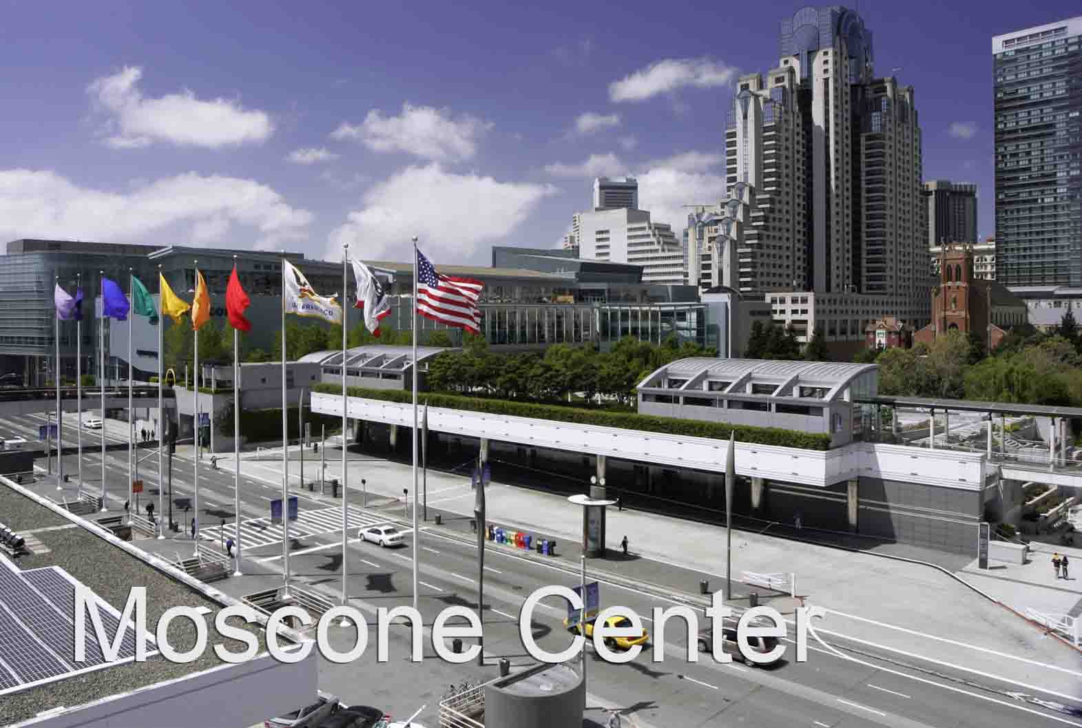 Moscone Center - several buildings and flags in background