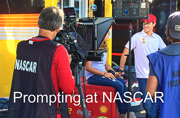 Prompter setup and three guys on set at NASCAR - Caption - Prompting at Nascar