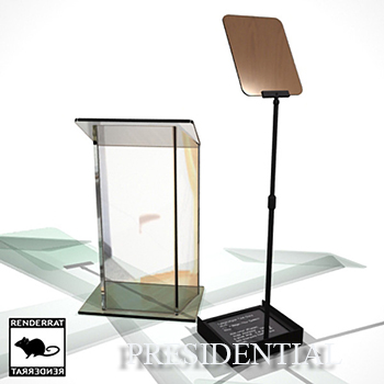 Presidential Prompter (one panel) and podium