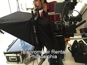 Teleprompter with camera and operator