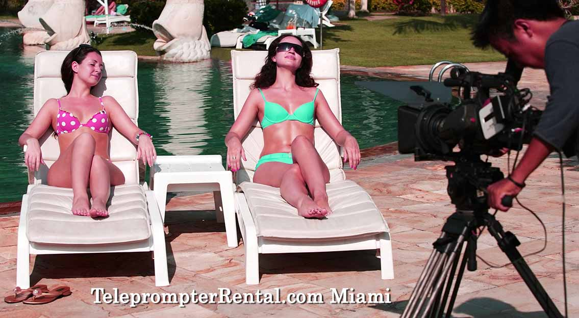 Beauties bathing - Prompter setup - TeleprompterRental.com Miami