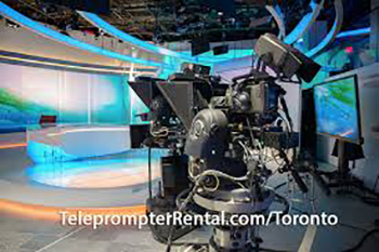 Setup in studio - aqua lighting - captionTeleprompterRental.com/Toronto