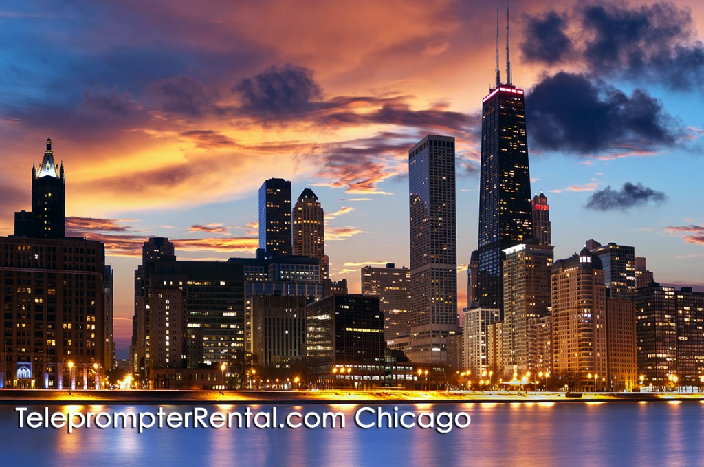 Image of Chicago skyline at sunset with caption Teleprompter Rental Chicago
