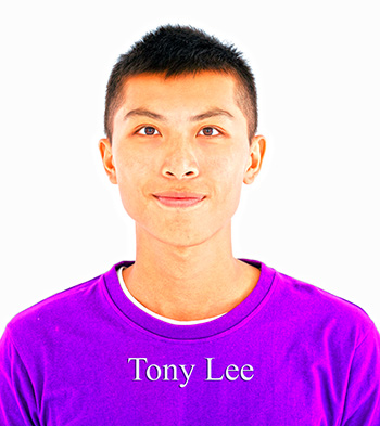 Tony Lee, Asian young man with purple shirt.