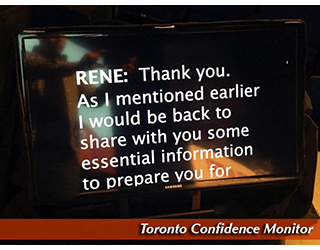 Toronto Confidence Monitor - text on the screen