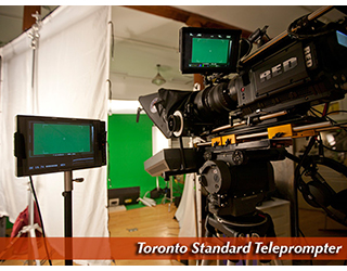 Toronto Standard Teleprompter in studio - green screen in background