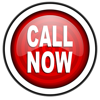 Call Now logo - red - black and white rim