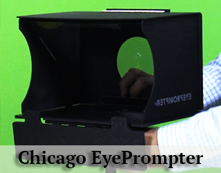 EyePrompter unit - green background - Chicago